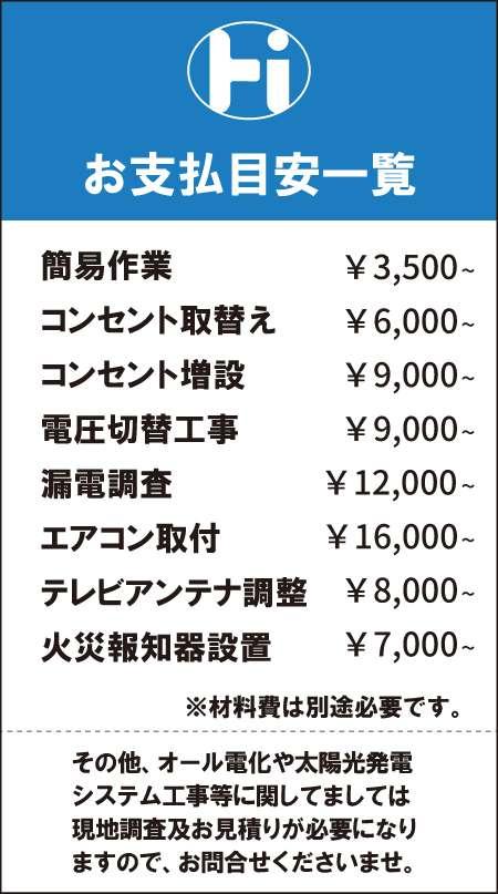 二戸堀閤電氣メニュー表